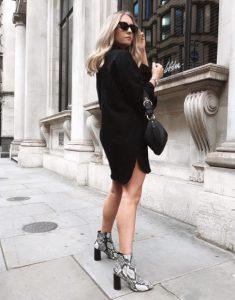 μποτάκι δέρμα φιδιού μαυρο φόρεμα