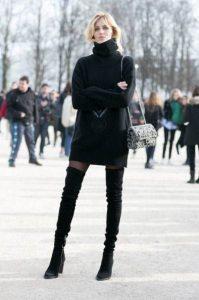 πλεκτό φόρεμα over the knee μαύρη μπότα