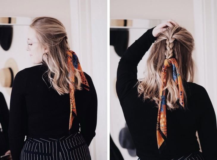 πολύχρωμο μαντήλι φουλάρι στα μαλλιά χτενίσματα