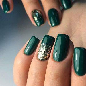 πράσινα νύχια χρυσό glitter χριστουγεννιάτικα σχέδια νύχια