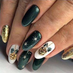 πράσινα νύχια χρυσά σχέδια glitter