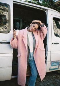 ροζ μακρύ παλτό