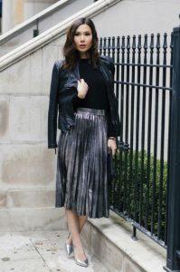 σκούρα ασημί πλισέ φούστα