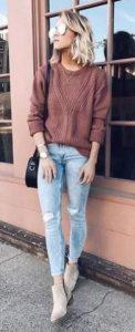 σομόν πουλόβερ jean και μπεζ μποτάκια