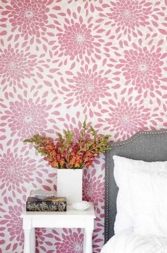 ταπετσαρία ροζ λουλούδια