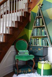 vintage χριστουγεννιάτικο δέντρο βιβλιοθήκη