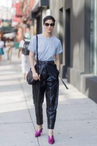χαλαρό ψηλόμεσο δερμάτινο μαύρο παντελόνι trends Χειμώνα