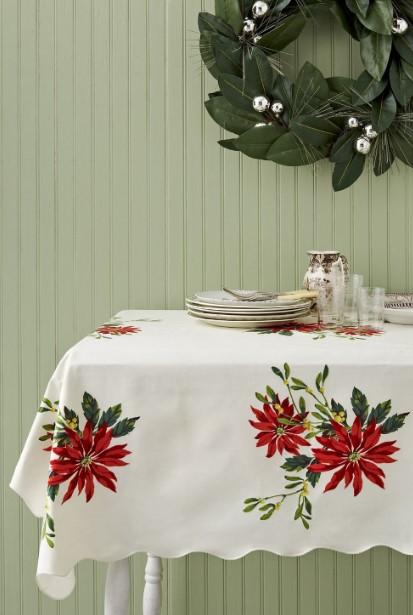 χριστουγεννιάτικο τραπεζομάντιλο κόκκινο λουλούδι