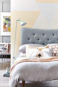 υπνοδωμάτιο κρεβάτι λάμπα δαπέδου μπλε