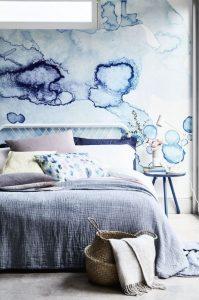 υπνοδωμάτιο κρεβάτι μπλε χρώμα