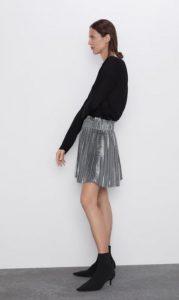 ασημένια πλισέ φούστα zara