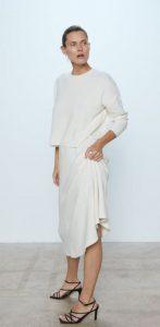 άσπρη μάλλινη midi φούστα