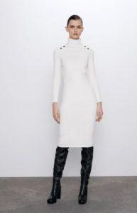 γυναικείο άσπρο midi φόρεμα