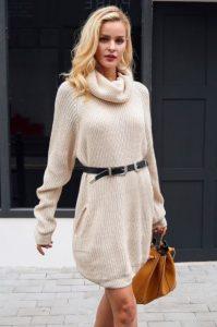 άσπρο πουλόβερ μακρύ με ζώνη