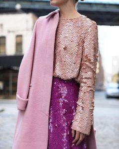 φουξ φούστα παγιέτα ροζ μπλούζα παγιέτα ροζ παλτό