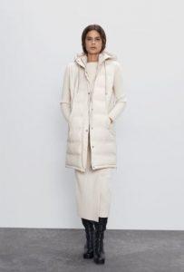 γυναικείο λευκό φουσκωτό μπουφάν zara
