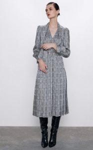 καρό midi φόρεμα zara