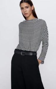 εφαρμοστή καρό μπλούζα zara