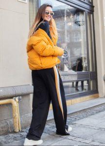 κίτρινο μπουφάν με φόρμα ρίγα