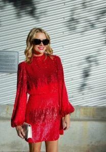 κόκκινο φόρεμα μίνι με παγιέτα
