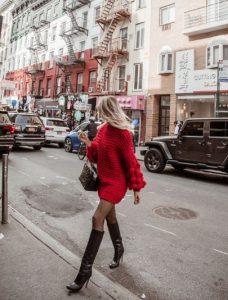 κόκκινο πουλόβερ φόρεμα μπότες ψηλές κόκκινο Χριστούγεννα