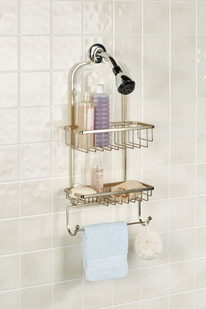 κρεμασμένη θήκη για σαμπουάν στη μπανιέρα tips οργάνωσης μπάνιο