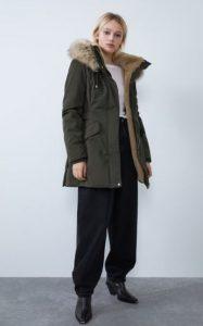 λαδί γυναικείο μπουφάν με γούνα