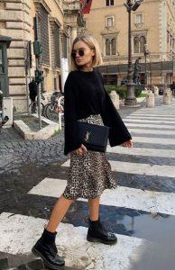 λεοπάρ μιντι φούστα πουλόβερ αρβυλάκι