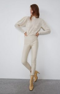 λευκό δερμάτινο παντελόνι zara
