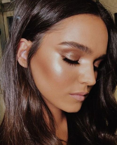 μακιγιάζ με λάμψη σκιά και highlighter