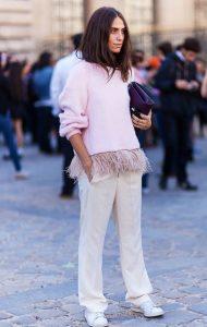 μακρυμάνικη ροζ μπλούζα φτερά πλεκτή outfits φτερά Χριστούγεννα