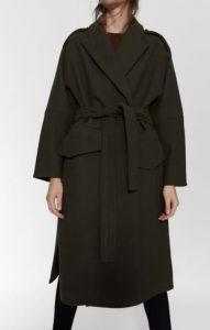 μάλλινο χακί γυναικείο παλτό