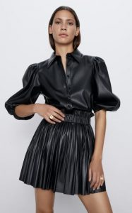 μαύρη δερμάτινη mini φούστα