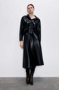μαύρη δερμάτινη midi φούστα