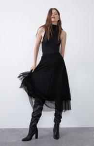 μαύρη φούστα midi τούλι