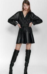 γυναικείο μαύρο δερμάτινο φόρεμα