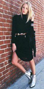 μαύρο μίντι φόρεμα ντύσιμο