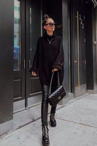 μαύρο κολάν μαύρο πουλόβερ