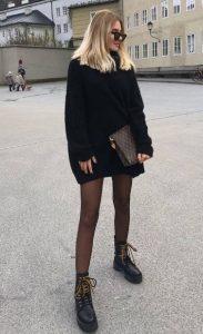 μαύρο πλεκτό πουλόβερ φόρεμα