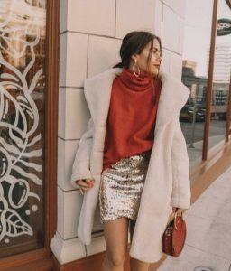 μίνι φούστα με πούλιες πορτοκαλί πουλόβερ φούστα παγιέτα Χριστούγεννα