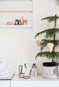 Τα διακοσμητικά σε σχήμα διαμαντιού, είναι πιο απλή μορφή μίνιμαλ Χριστουγεννιάτικου ντεκόρ και μπορείς να τα κρεμάσεις στο δέντρο με σπάγκο ή κλωστή