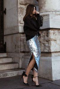 μίντι φούστα με πούλιες μαύρο πουλόβερ φούστα παγιέτα Χριστούγεννα