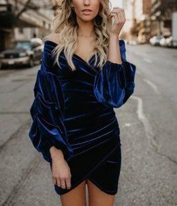 βαθύ μπλε φόρεμα για γιορτές