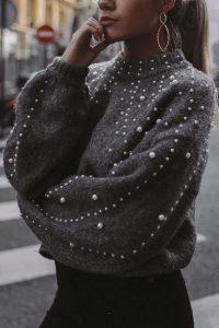 πλεκτό γκρι με πέρλες πουλόβερ χειμώνα 2020