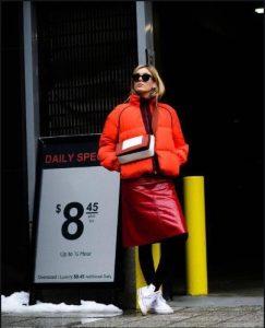 neon πορτοκαλί σύνολο με φούστα