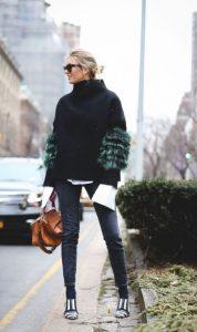 πουλόβερ μαύρο φτερά στα μανίκια outfits φτερά Χριστούγεννα