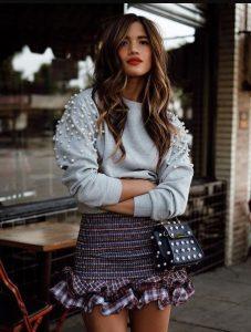 πουλόβερ πέρλες γκρι μίνι φούστα