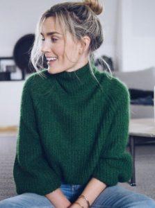 σκούρο πράσινο ριγέ πουλόβερ χειμώνα 2020