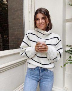 ριγέ άσπρο πουλόβερ