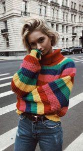 ριγέ πολύχρωμο πουλόβερ